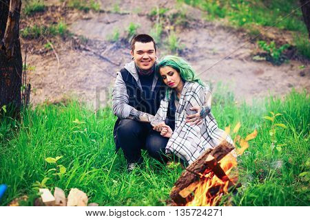 Couple Happy Outdoors.