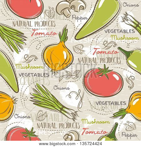 Background with tomato onions pepper. Ideal for printing onto fabric and paper or scrap booking.