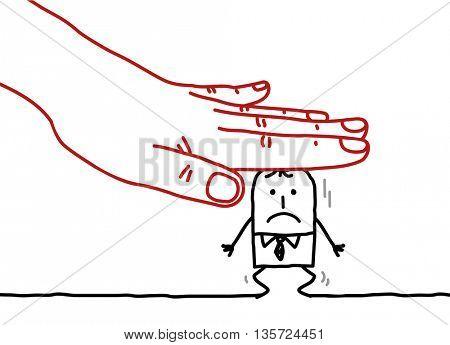Big hand and  businessman - under pressure