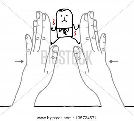 Big hands and  businessman - under pressure