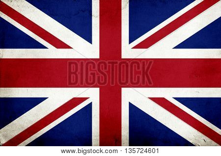 Closeup of Union Jack flag on vintage background