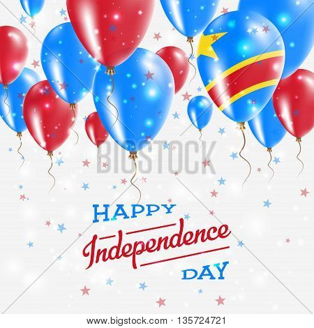 Congo, The Democratic Republic Of The Vector Patriotic Poster.. Independence Day Placard With Bright