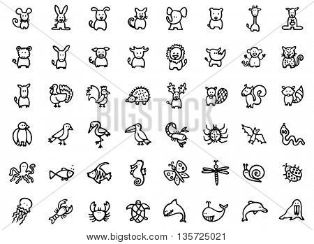 48 vector hand drawn animals, black and white