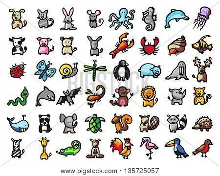 48 vector hand drawn animals, black line and colors