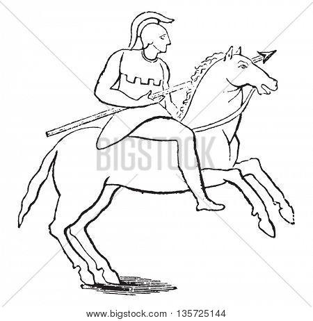 Single rider, vintage engraved illustration. Magasin Pittoresque 1852.