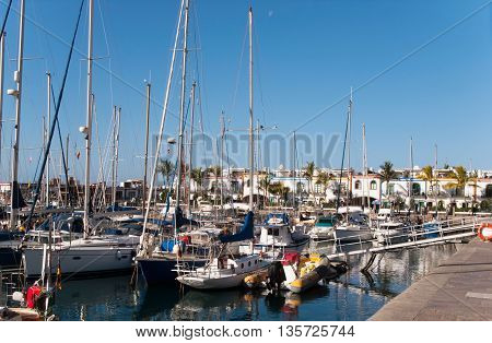 Marina at Grand Canay Island full of yachts and boats