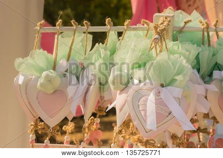 Heart decorations at a baptism in Greece.