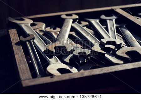 Loads Of Wrenches Or Spanners In A Wooden Drawer