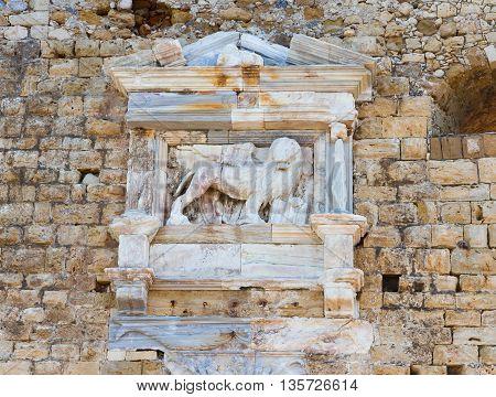 Heraklion old fort with venetian lion, Crete, Greece