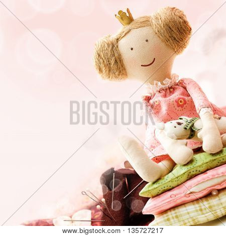 Art Sewing Accessory Background with little Doll
