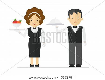Waitress And Waiter In Black Suit