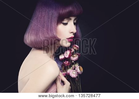 Beautiful Woman Fashion Model. Bob Haircut. Purple Color Hairstyle. Makeup
