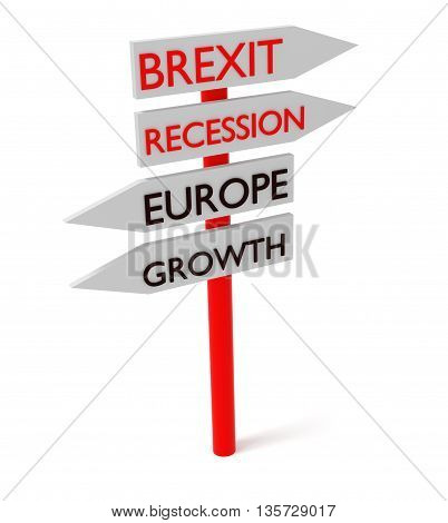 Brexit and Europe: guidepost 3d illustration on a white background