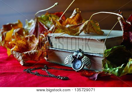 Old books with bronze clock between pages among the autumn leaves. Selective focus at the clock.  Retro autumn still life with autumn leaves