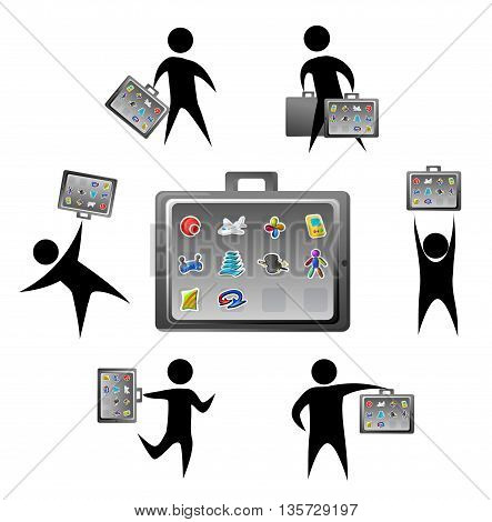 Cartoon icon application briefcase, vector illustration, horizontal, isolated, over white