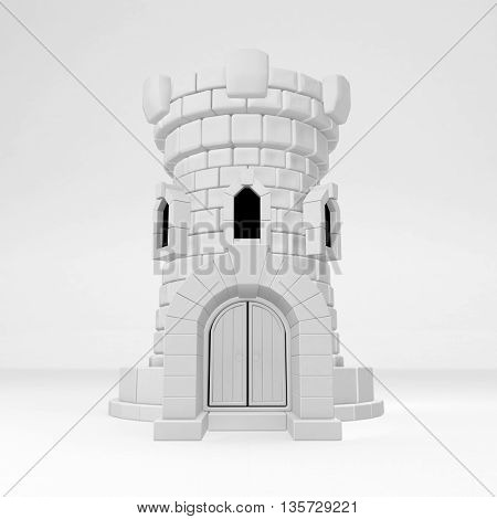 Castle tower building white symbolic vertical 3d illustration