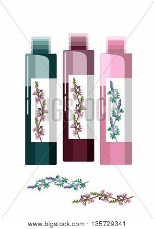 Cosmetic vial flask flacon or container for perfume with floral herbs. Vector illustration.