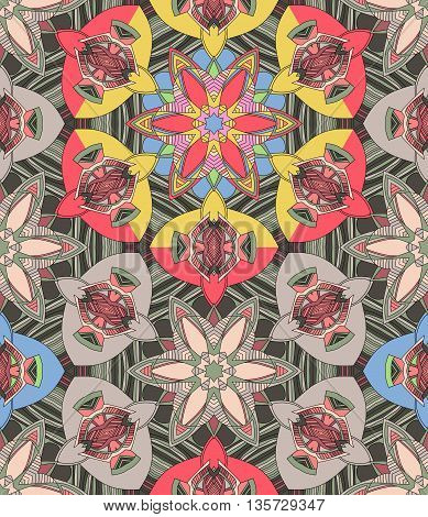 Seamless kaleidoscopic pattern with geometric flowers. Decorative vector background.