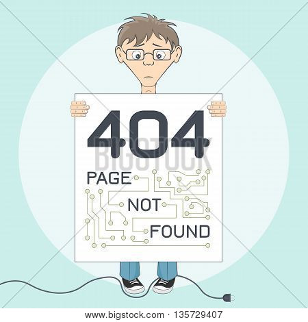 Picture with 404 error. Message for website. Programmer keep text alert in hands. Page not found warning. Cartoon vector illustration