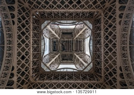Eiffel tower bottom view industrial background, Paris, France.