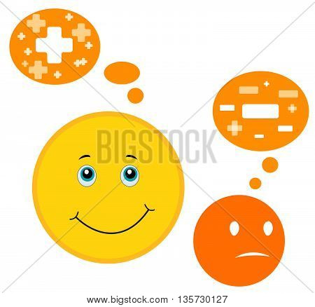 Vector illustration. Think positively. Be positive Smile for Your layout.