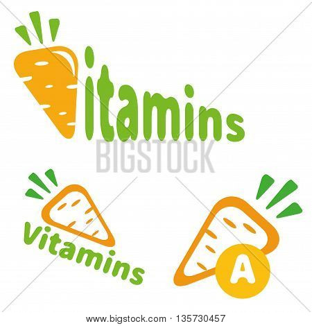 The logo or icon vitamins carrots. Carrots isolated on a white background. Illustration of a carrot, a healthy food. Vitamins A.