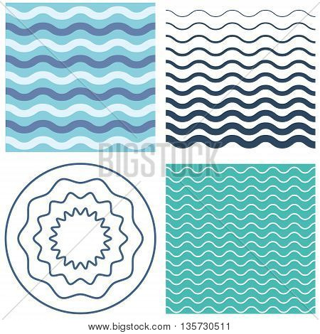 Set wave pattern template and wavy circle. Blue and black waves. Graphic vector background with waves.