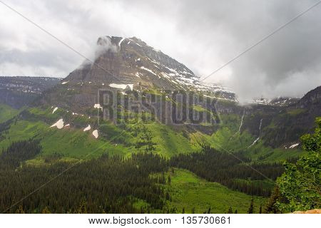 Landscape scenic of Glacier National Park in Montana. Going to the Sun road.
