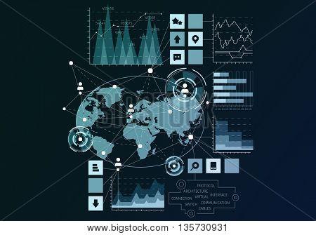 Social network concept . Mixed media