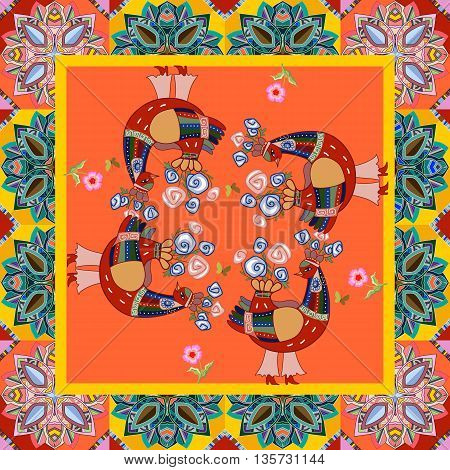 Beautiful bandana print with fantasy birds on bright orange background. Silk neck scarf with ornamental border. Kerchief square pattern design style for print. Vector illustration.