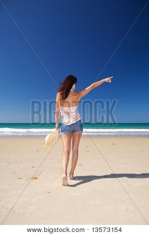 Shorts Jeans Woman At Beach