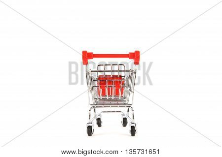 Shopping Cart On White Background With Shadow