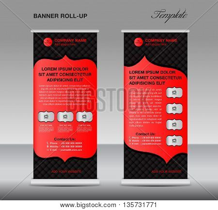 Black and red Roll up banner stand template vintage banner vector illustration