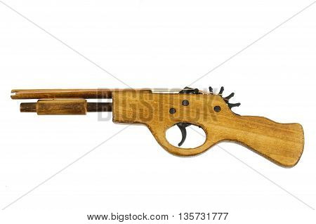 Wooden Toy Rubber Gun Isolated On White Background6