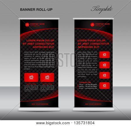 Black Roll up banner stand template vintage banner vector illustration