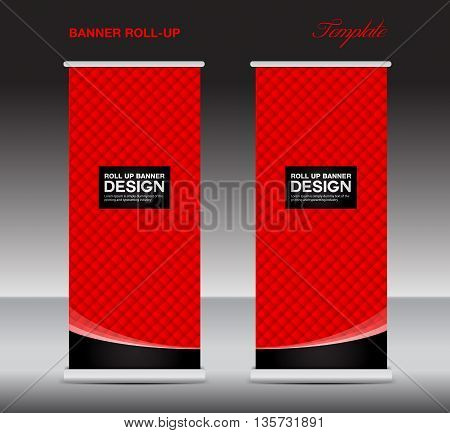 red Roll up banner stand template flyer template vector illustration