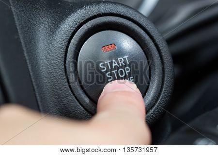 Car Push Start Button With Orange Status Light