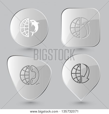 Globe set. Glass buttons on gray background. Vector icons.