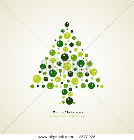 vector tree of christmas card