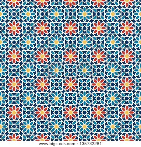 Islamic seamless pattern. Arabian geometric oriental pattern for holiday cards. Vector illustration