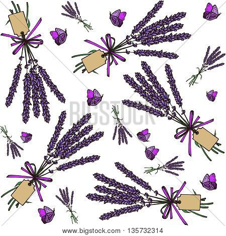 Vintage hand drawn lavender seamless pattern. Vector illustration. Lavender bouquets background. Engraving illustration. Lavender herbal bouquets and label in vintage style.