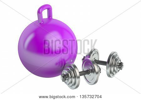 Fitness and sports equipment for adults and childrens concept 3D rendering isolated on white background