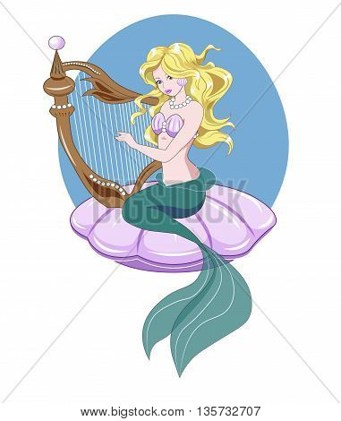 The Little Mermaid with long golden hair plays a harp
