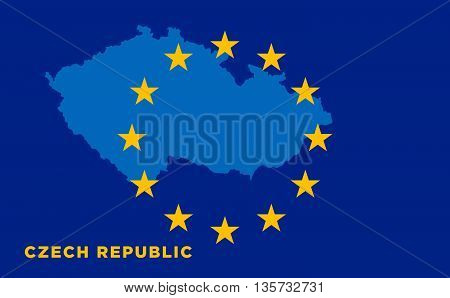 Flag of European Union with Czech Republic on background. Vector EU flag