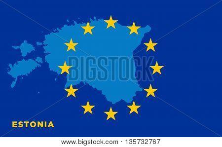Flag of European Union with Estonia on background. Vector EU flag