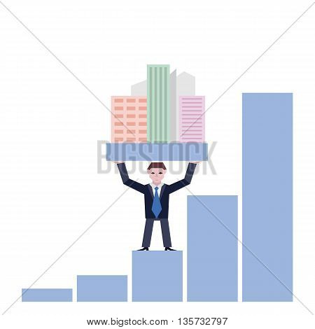 Businessman holding houses. Business concept the real estate market with chart. Vector illustration of businessman with houses standing on chart isolated on white background.