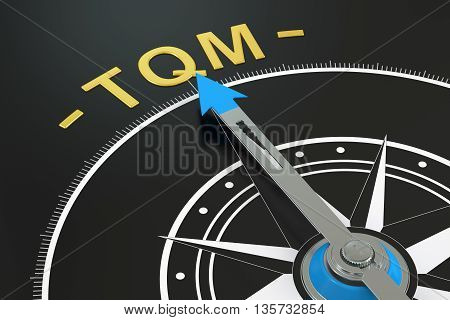 TQM compass concept 3D rendering on black background