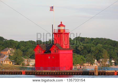 Big Red or Holland Lighthouse standing tall and still working in Michigan