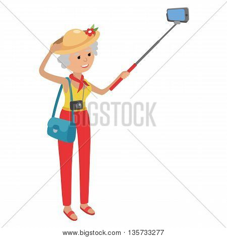 Intelligent modern elderly woman using mobile phone. Grandmother makes selfie on smartphone. Flat illustration isolated on white background of senior traveling.