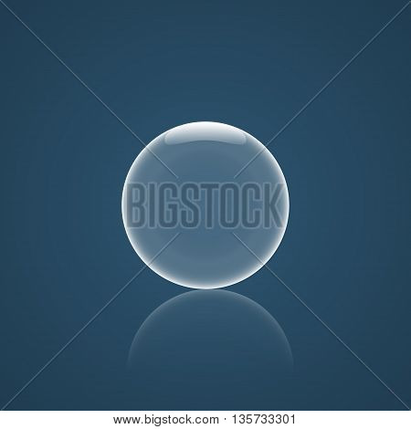 Bubble Icon with reflection and blue background